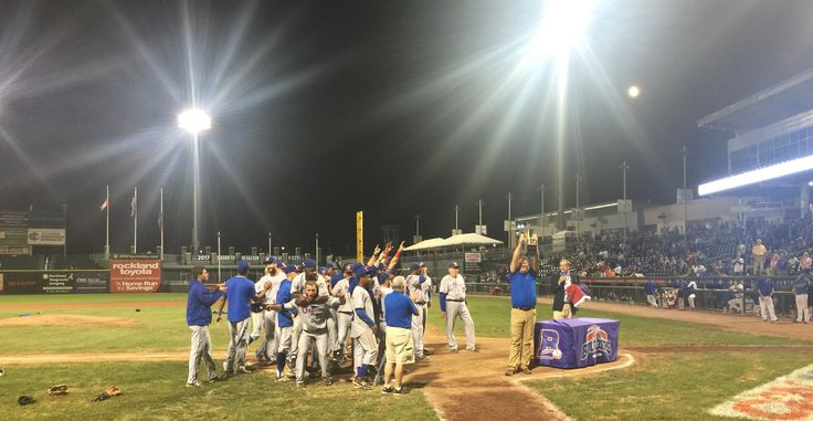 Celebrating a Championship on the field in Rockland, NY on Sept 17th 2016 as the Ottawa Champions win the CanAm League Title over the Rockland Boulders.