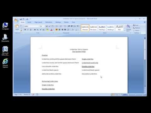 Microsoft Word 2007 Underline Text or Spaces - YouTube