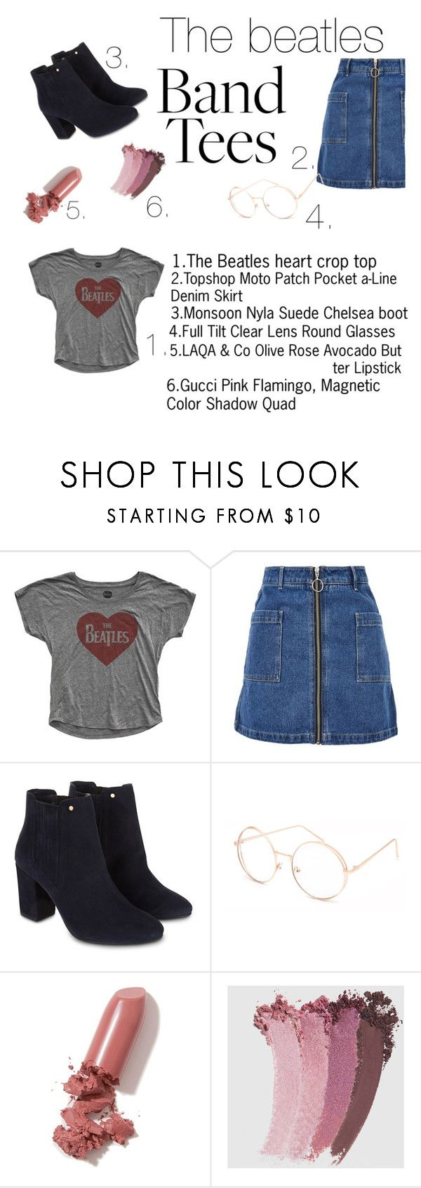 """""""The Beatles - Band Tees -"""" by valeriasanchez45 ❤ liked on Polyvore featuring Topshop, Monsoon, Full Tilt, LAQA & Co. and Gucci"""