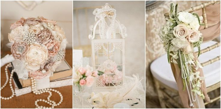 vintage wedding ideas with pearl details