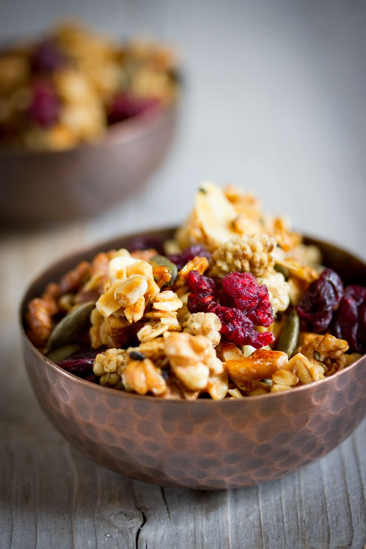 Granola with Coconut Oil and Dried Raspberries - deliciousfire.com
