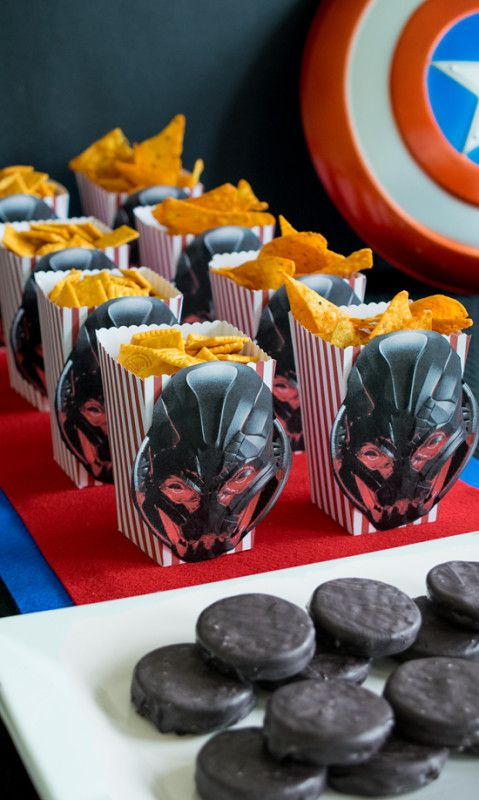 Avengers Party Ideas for a movie marathon featuring thor, iron man, captain america, and the whole gang. These movie marathon snacks with Ultron are a great way to celebrate. #ad #AvengersUnite