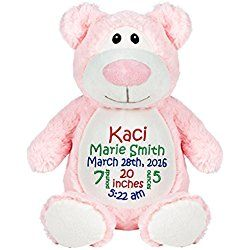Personalized Stuffed Pink Bear with Embroidered Baby Block in Red, Green, and Blue