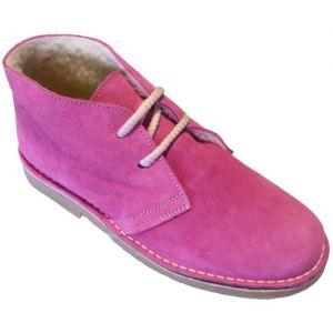 Ботинки женские на меху розовые