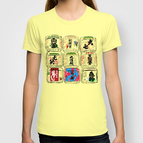 Japanese Sake Barrels T-shirt by Jollybird Designs   Society6  https://society6.com/product/japanese-sake-barrels_t-shirt #japanese #sake #barrels #womensfashion #illustration