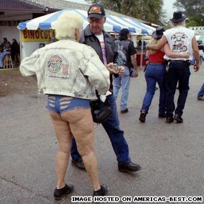 grandma rocking the daisy dukes and then some