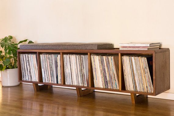 Vinyl LP Storage Bench with Mid Century Modern Stylings on Etsy, $1,200.00