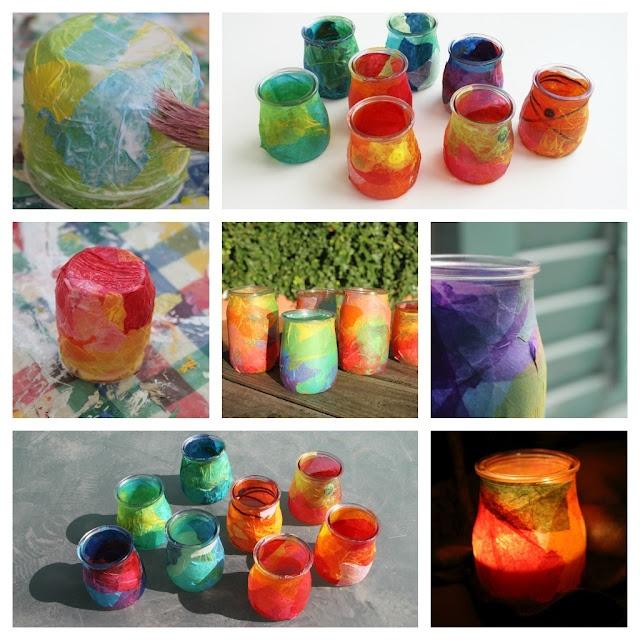Espelmes de nadal: envàs de vidre, paper de seda i cola.