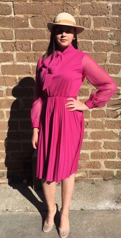Fuchsia Vintage 60's Sheer Pleated Cocktail Dress  | eBay