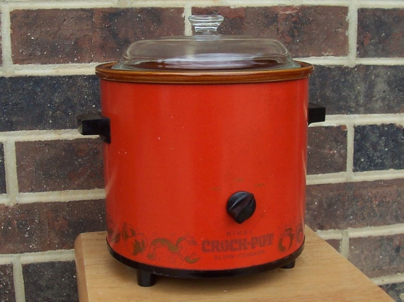 Vintage 70s Rival Crock Pot Orange by The5thHouse on Etsy