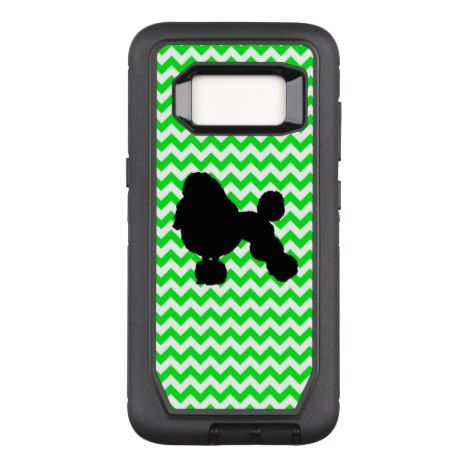 Irish Green Chevron with Poodle Silhouette OtterBox Defender Samsung Galaxy S8 Case #chevron #samsung #galaxys8 #cases #protect