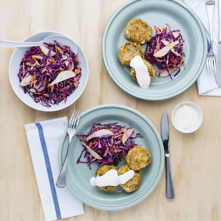 Fish and Kumara Cakes with Lime Aioli and Slaw