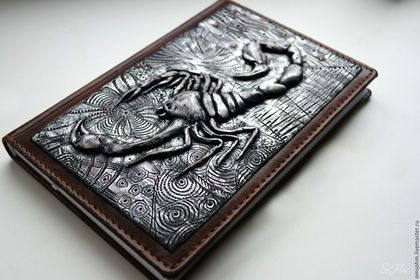 Polymer clay scorpion journal cover