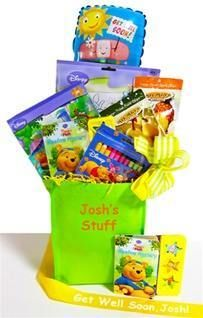 The Perfect Gift Basket - Pooh Bear Get Well Gift Set, Oh Bother! Let Pooh Bear cheer up a child that is under the weather. This neutral gift is perfect for a sick little girl or boy! This tote bag comes filled with Winnie The Pooh themed activity gifts to keep them busy during their hospital stay or bed rest. These gift items come packed inside a tote bag and are wrapped with cello and matching ribbons.