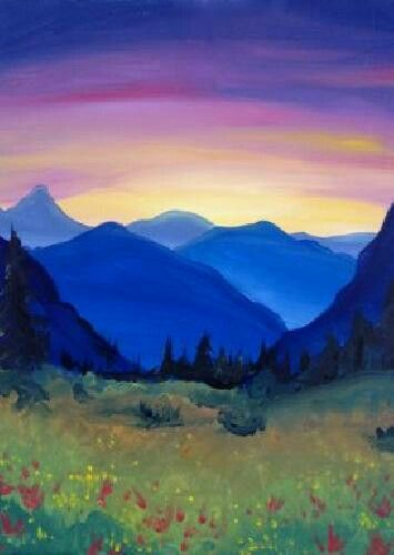 Mountain With Images Landscape Paintings Mountain Paintings Night Painting