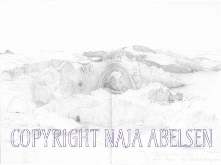 Icebergs in Ilulissat Icefiord. 2010, Pencil study by Naja Abelsen. Drawn in the midnigth sun...miss that! STUDIES OF REALITY - www.123hjemmeside.dk/NajaAbelsen