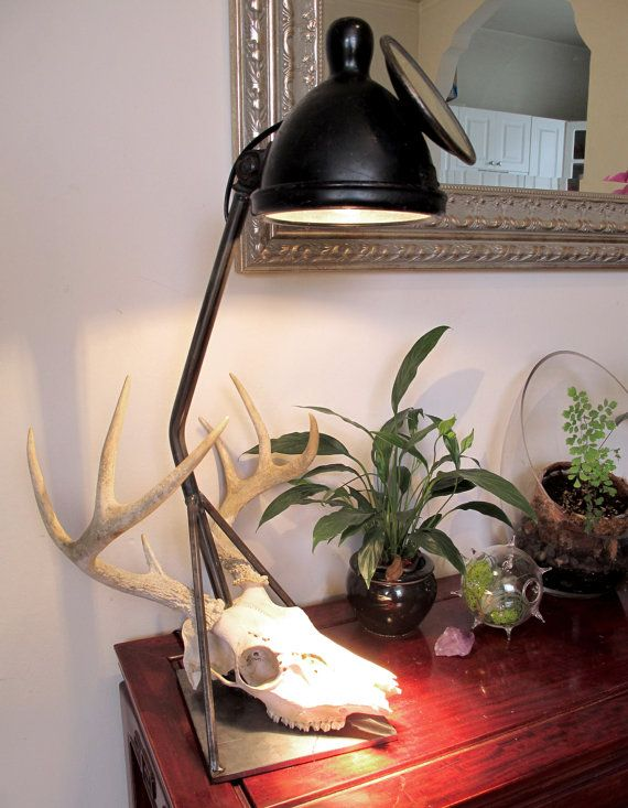 Antique Car Headlight Table Lamp With Deer Skull By Theaccretion 185 00 Table Lamp Lamp Vintage Lighting