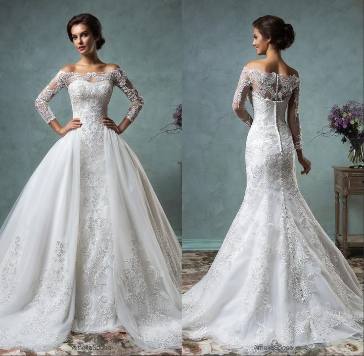 2016 Sheer Long Sleeve Mermaid Trumpet Wedding Lace Bridal Gowns With Removable Detachable Skirt Plus Size Wedding Dresses