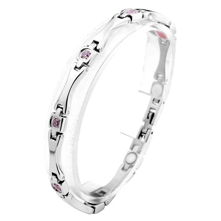 Zysta - Damen Magnetarmband Titan magnetische Armband Magnet Partnerarmbänder aus Edeltahl Rosa Zirkonia