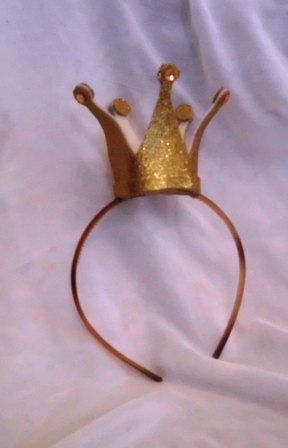 Gold Crown, Queen of Hearts, Mini, Tiny, Sparkle, Princess, Headband, Burlesque, Princess Peach. $15.00, via Etsy.