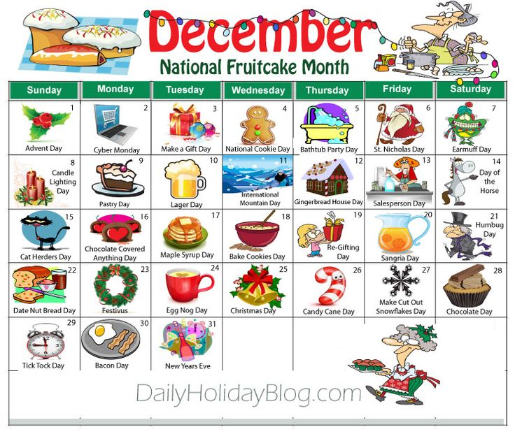 Holidays Celebrations: December Random Holidays Calendar