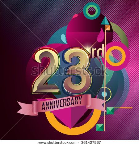 23rd Anniversary, Party poster, party invitation - background geometric glowing element. Vector Illustration - stock vector