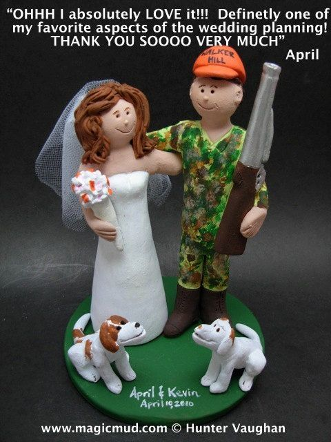 Camouflage Hunting Groom Wedding Cake Topper, Custom Made Hunter's Wedding Cake Topper - Redneck Wedding Cake Topper - Bow Hunters Wedding Cake Topper    This photographed listing is but an example of what we will create for you....simply email or call toll free with your own info and pictures of yourselves, and we will sculpt for you a treasured memory from your wedding!    $235 #magicmud 1 800 231 9814 www.magicmud.com