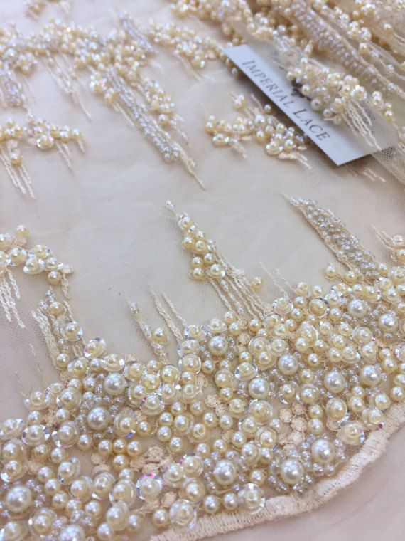 Crème kanten stof, beaded luxe 3D lace weefsel, hand beaded hoge kwaliteit crème Franse chantilly lace stof, verkocht door de werf-K00443