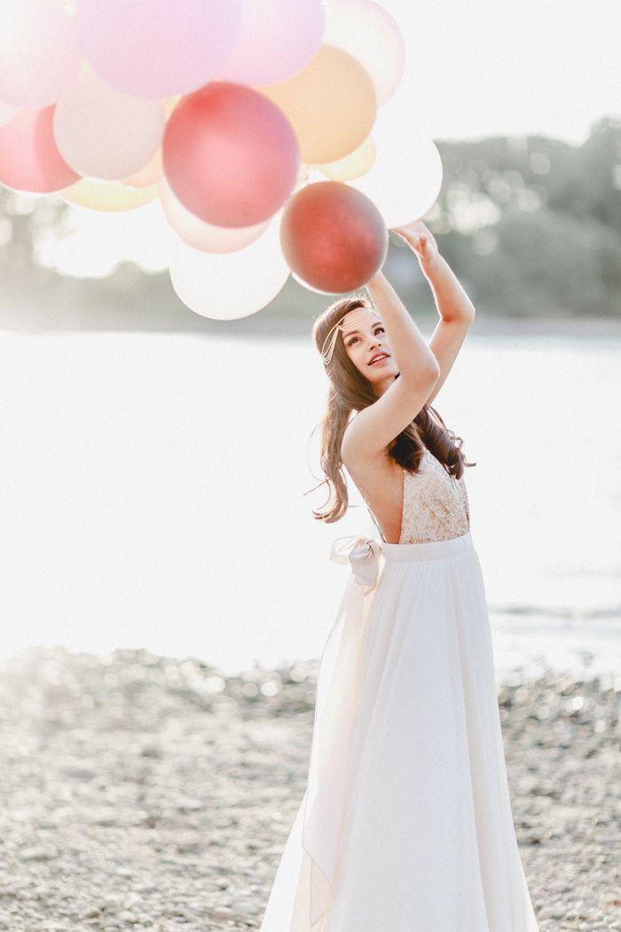 Brautkleid mit rose goldenen Pailletten | Friedatheres.com