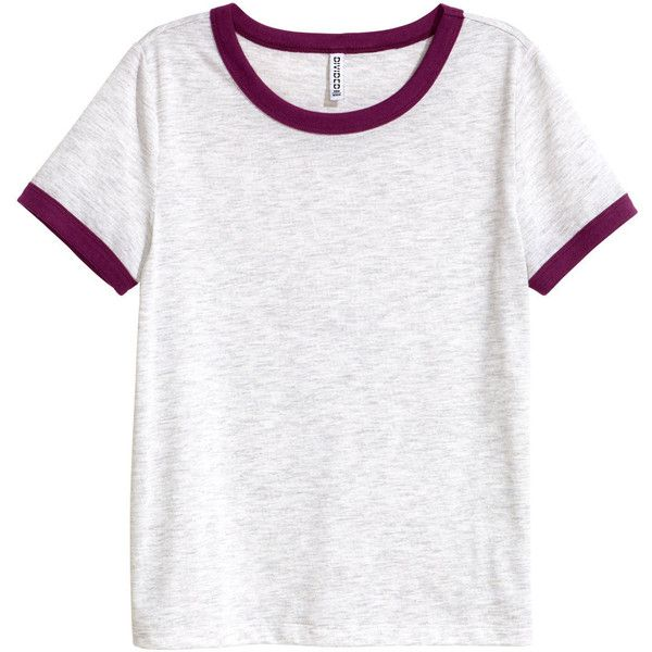 Short T-shirt $9.99 (68 DKK) ❤ liked on Polyvore featuring tops, t-shirts, hm, white t shirt, jersey top, white jersey, white top and h&m t shirts