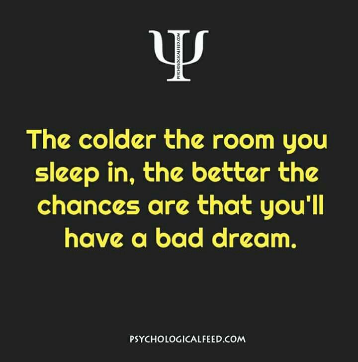 the colder the room you sleep in, the better the chances are that you'll have a bad dream.