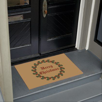 Merry Christmas Wreath Doormat - Xmas ChristmasEve Christmas Eve Christmas merry xmas family kids gifts holidays Santa