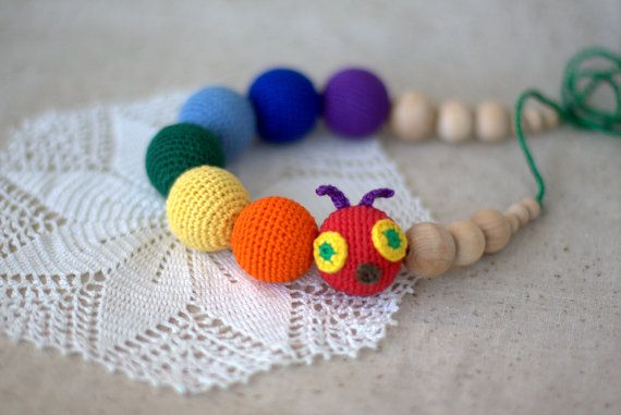 Rainbow Caterpillar necklace Nursing Teething by ForeverValues