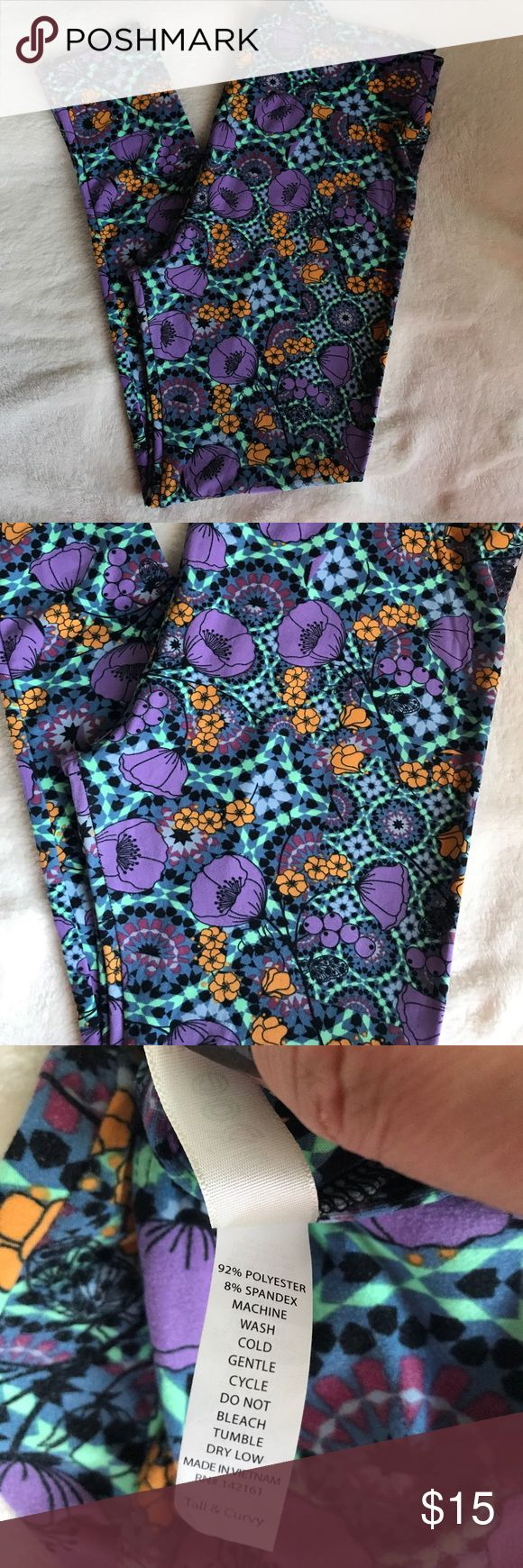 TC LuLaRoe leggings NEW NEVER WORN Purple, gold, mint green, and black LuLaRoe Pants Leggings