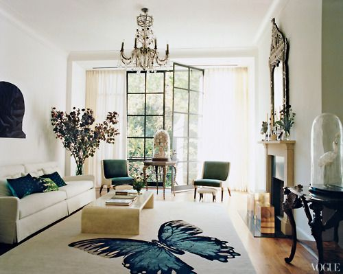Tabitha Simmons drawing room - Vogue magazine: McDean requested whitewashed walls to