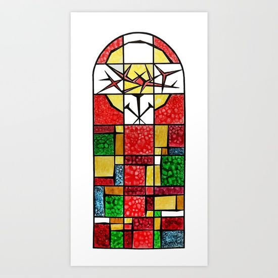 Abstract, square, qubism, red, Crucifixion, crown of thorns, Jesus, Christ Art Print