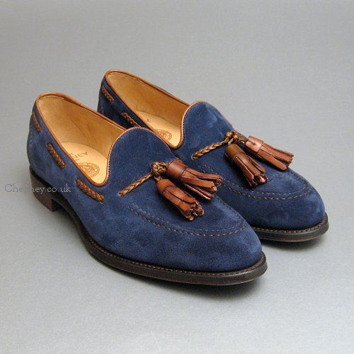 Hubert Navy Blue Suede & Espresso Tassel Loafers by Cheaney