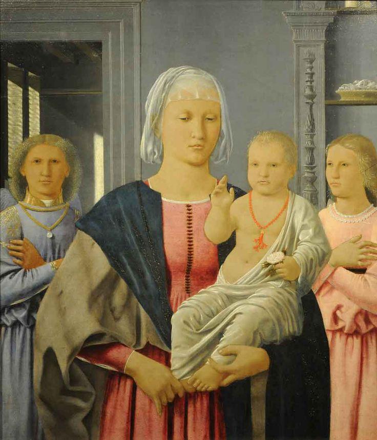 Galleria Nazionale delle Marche, Palazzo Ducale, Urbino Piero della Francesca: Madonna and Child with Two Angels, 24 11/16 x 20 3/16 inches, circa 1464–1474