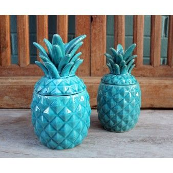 Pineapple Jar Large Turquoise Pineapple Home Decor