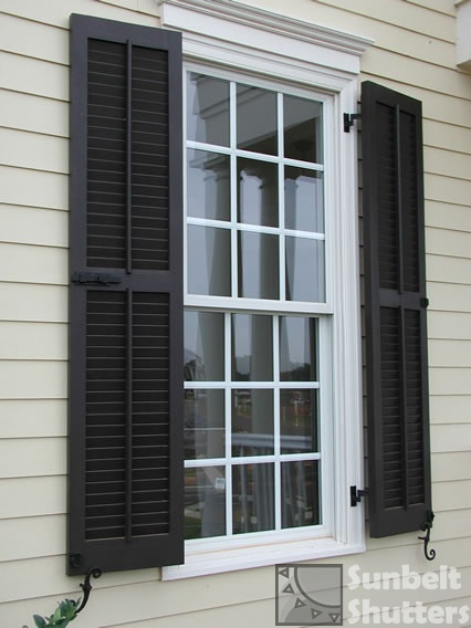 Sunbelt Shutters Pine Louvereds With Faux Tilt Rod Center