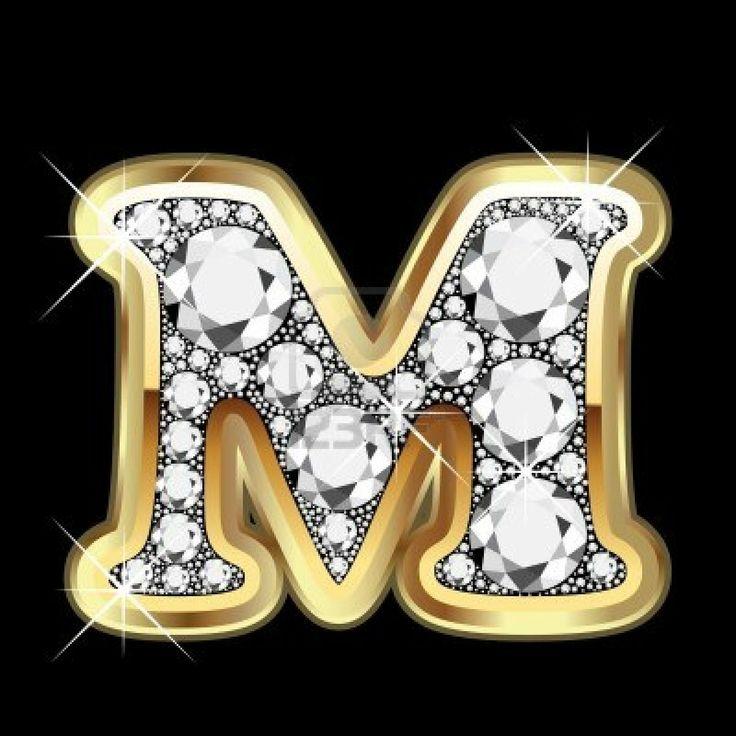 M Letter In Black Diamonds M gold and diam...