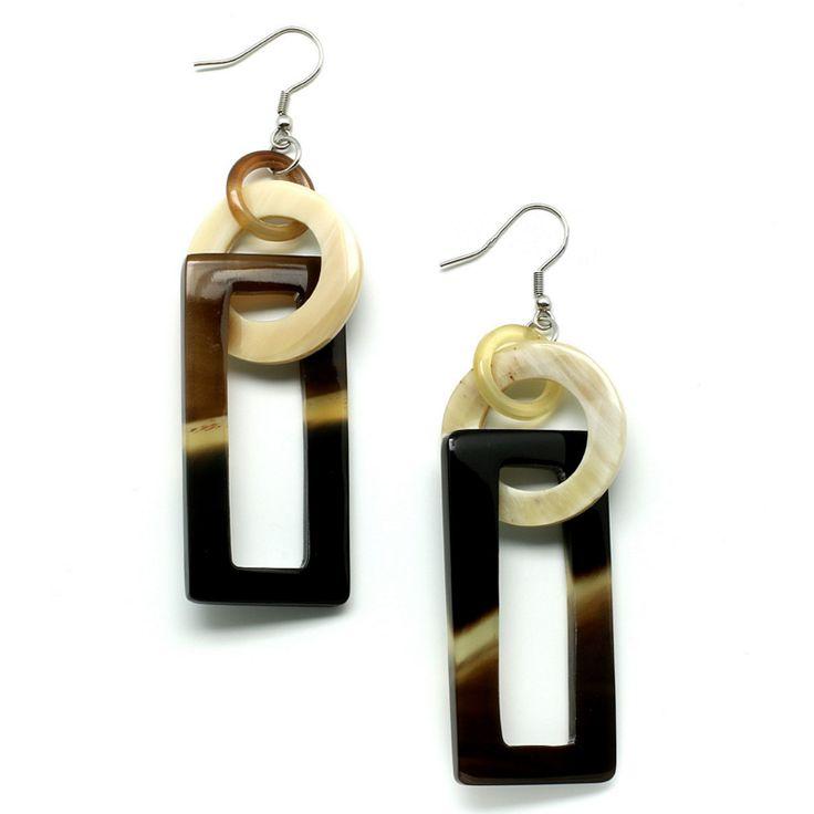 Gorgeous handmade earrings of buffalohorn. Watch our Buffalohorn jewelry collection now!