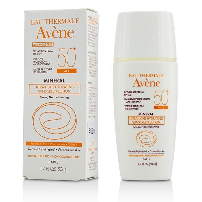 Avene Mineral Ultra-Light Hydrating Sunscreen Lotion SPF 50 For Face - For Sensitive Skin - 50ml/1.7oz - A 100% mineral sunscreen for face  Features a sheer, ultra-light & non-whitening formula   Boasts maximum water-resistance up to 80 minutes  Contains a photostable form of Vitamin E for powerful anti-oxidant protection  Blended with Avène Thermal Spring Water to soothe & soften skin  Offers broad-spectrum UVA/UVB SPF 50+ protection  Delivers eight hours of hydration  Suit...