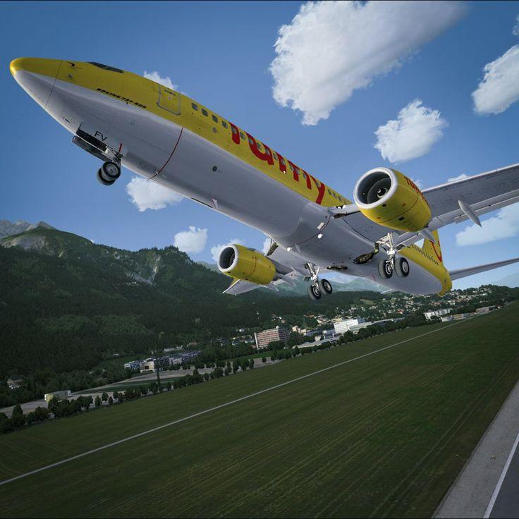 TUIfly departing Innsbruck, Austria (LOWI). Boeing 737 by PMDG, scenery by ORBX.