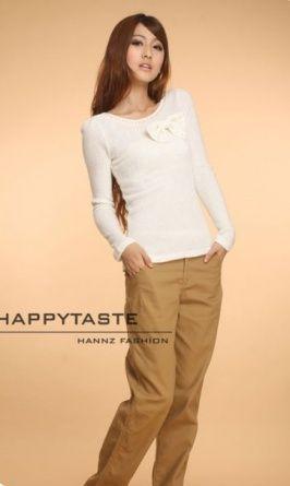 Slim Side Pockets Cotton Trousers Khaki