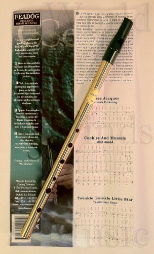 "Feado'g Original Irish Penny Whistle by Feado'g Teoranta. $15.95. Music for 3 songs. Traditional key of D. Comes with  a finger chart. Feadog Irish tin whistle in the key of ""D'"