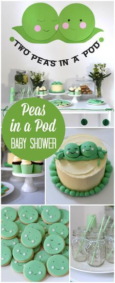 How adorable is this two peas in a pod baby shower for twins! See more party ideas at CatchMyParty.com!