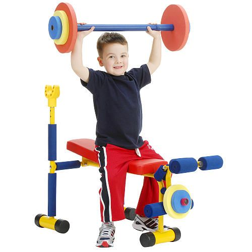 """Hahaha! Teach 'em while they are young!  Fun & Fitness Weight Bench for Kids -  Redmon For Kids - Toys""""R""""Us"""