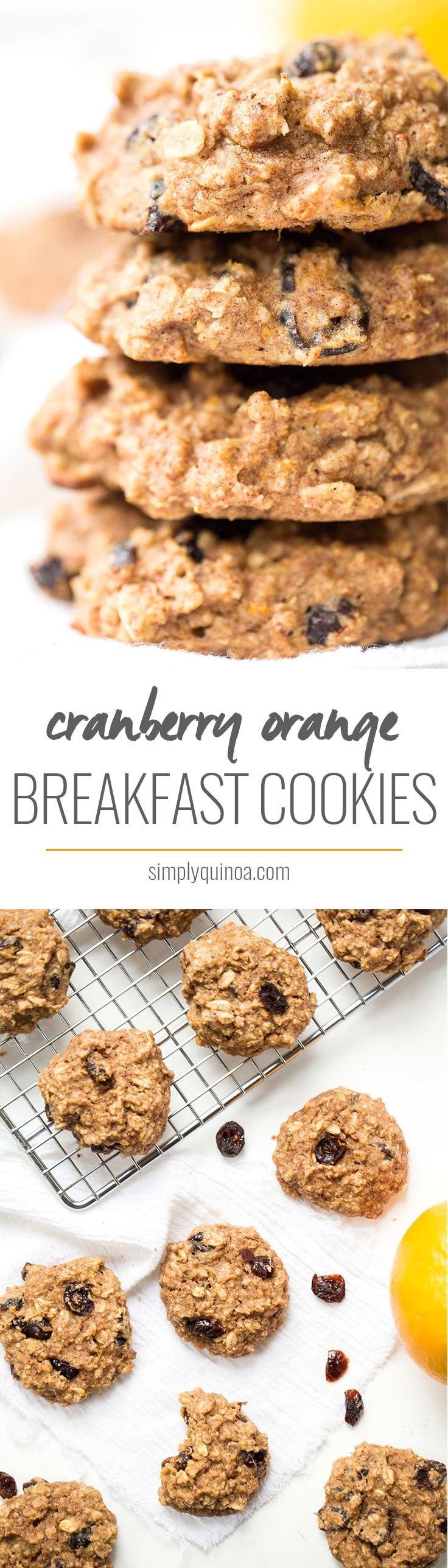 These AMAZING cranberry orange quinoa breakfast cookies have banana ...