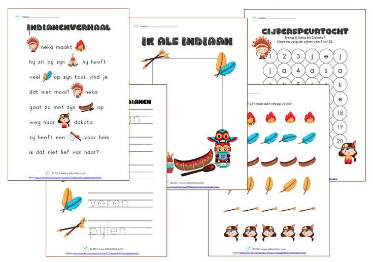 Leuke werkbladen bij het thema indianen voor kleuters!